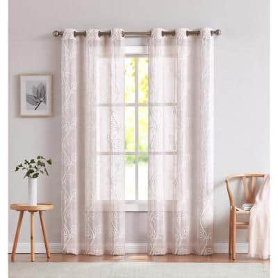 Stella 76 in. x 96 in. In. Embroidered Window Panel Pair In Blush