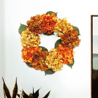 20 in. Artificial Hydrangea Flower Wreath
