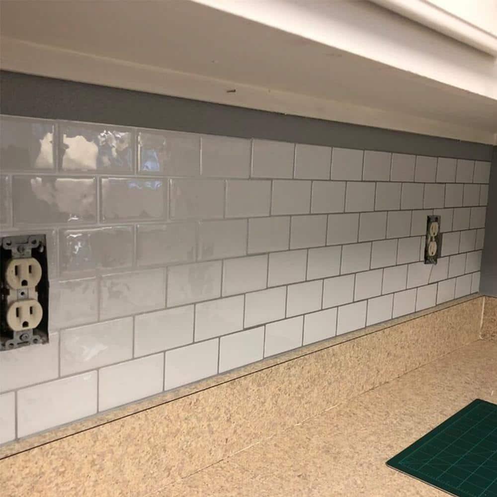 Peel /& Stick 3D Auto Adhésif Mosaïque Wall Tile Autocollant-blanc Métro avec coulis