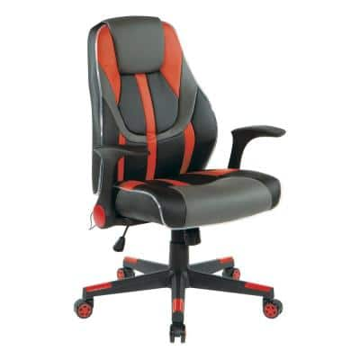 Output Gaming Chair in Black Faux Leather with Red Trim