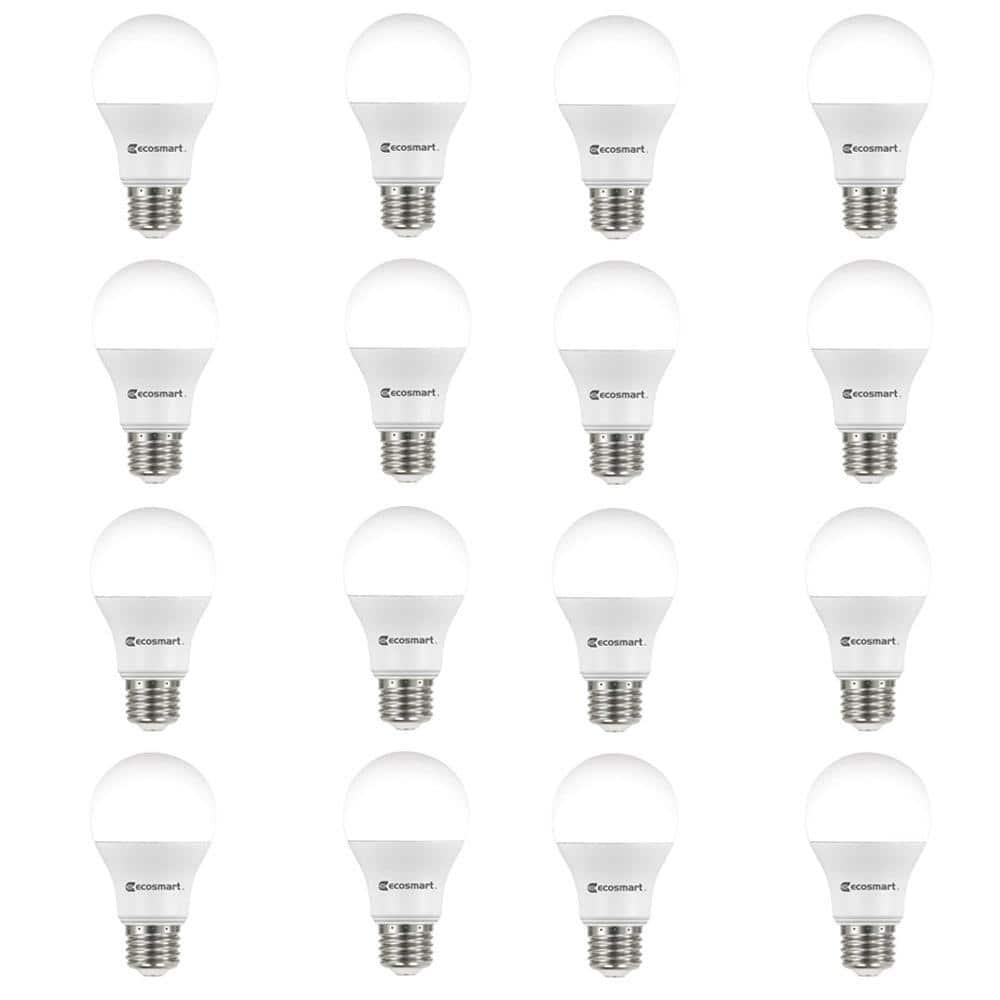 Ecosmart 60 Watt Equivalent A19 Non Dimmable Led Light Bulb Daylight 16 Pack B7a19a60wul38 The Home Depot