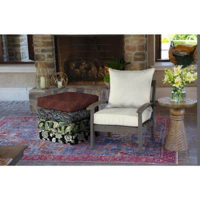 24 x 24 Sand Canvas Texture 2-Piece Deep Seating Outdoor Lounge Chair Cushion