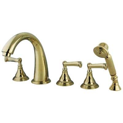 Royale 3-Handle Deck-Mount Roman Tub Faucet with Hand Shower in Polished Brass (Valve Included)