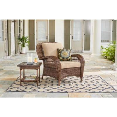 Beacon Park Brown Wicker Outdoor Patio Stationary Lounge Chair with Toffee Tan Cushions