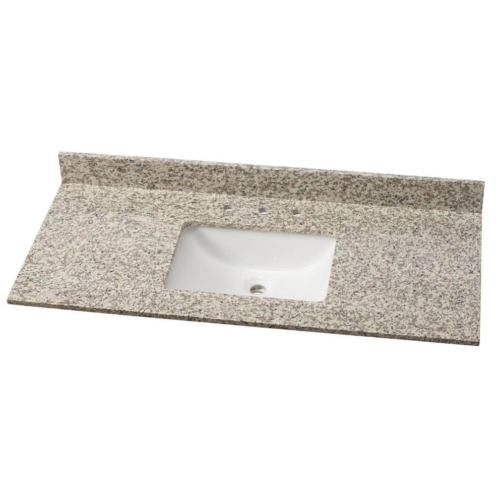 Home Decorators Collection 49 In W Granite Single Vanity Top In Blanco Perla With White Sink Blanper4922 2cm The Home Depot