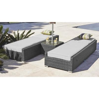 Alisa Black Wicker Outdoor Armless Chaise Lounge with Grey Cushion