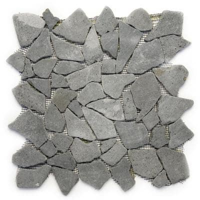 Indonesian Java Black 12 in. x 12 in. x 6.35 mm Natural Stone Pebble Mesh-Mounted Mosaic Tile (10 sq. ft. / case)