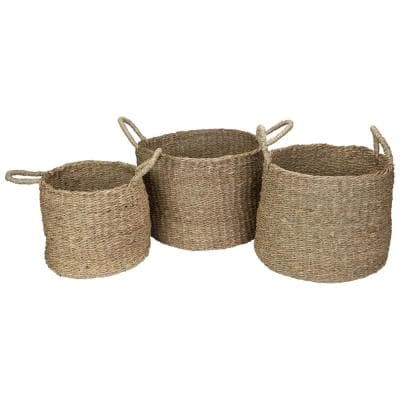 Round Natural Beige Seagrass Table and Floor Baskets (Set of 3)