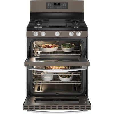 30 in. 6.8 cu. ft. Double Oven Gas Range Convection Oven in Slate