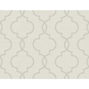 Malo Light Grey Sisal Ogee Vinyl Strippable Wallpaper (Covers 60.8 sq. ft.)