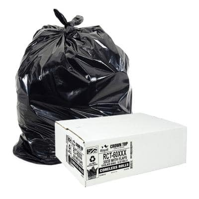 55 Gallon to 60 Gallon Black Low Density EZ Closure Trash Bag (100-Count)