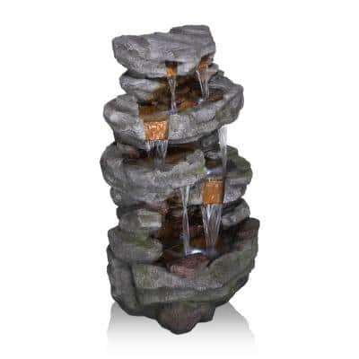 39 in. Tall Outdoor Cascading Stone Water Fountain with LED Lights