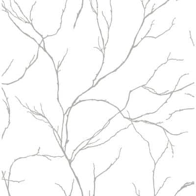 Delicate Branches Metallic Silver Peel and Stick Wallpaper (Covers 30.75 sq. ft.)