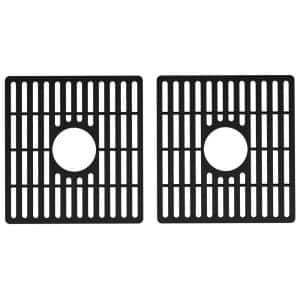 15 in. x 15 in. Silicone Bottom Grid for 33 in. Double Bowl Composite Kitchen Sink in Matte Black (2-Pack)