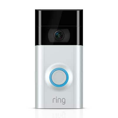 Wired and Wireless Refurbished-1080p HD Wi-Fi Video Door Bell 2, Smart Home Camera, Removable Battery, Works with Alexa