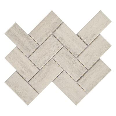 Stonehollow 14 in. x 12 in. x 6.35 mm Mist Ceramic Herringbone Mosaic Floor and Wall Tile (0.67 sq. ft./Each)