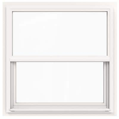 36 in. x 36 in. V-4500 Series White Single-Hung Vinyl Window with Fiberglass Mesh Screen