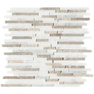 Cracked Joint Random Vanilla 12 in. x 12 in. x 10mm Mosaic Marble Floor and Wall Tile (1 sq. ft./Each)