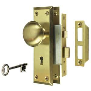 2 in. Satin Brass Victorian Door Knob Mortise Lock Set