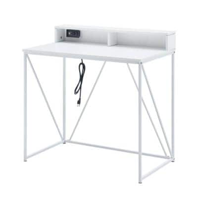 Minimalist 35.75 in. Rectangular White Wood and Metal Writing Desk with USB Port & Cubby Shelf