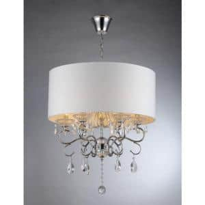 Camilla 6-Light Chrome Crystal Chandelier with Fabric Shade