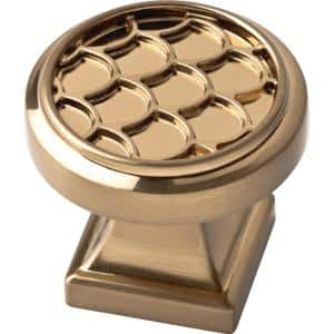 Scalloped 1-1/4 in. (32 mm) Champagne Bronze Round Cabinet Knob (25-Pack)