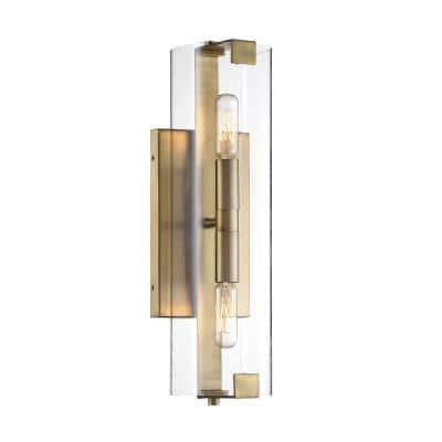 2-Light Warm Brass Sconce