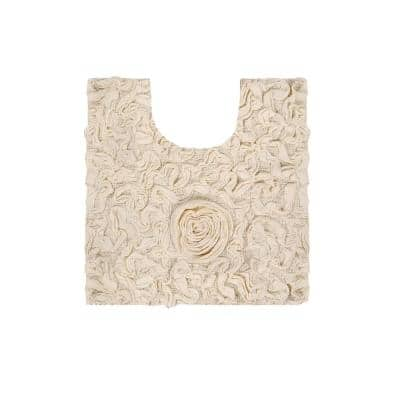 Bell Flower Collection Ivory 20 in. x 20 in. Cotton Bath Rug