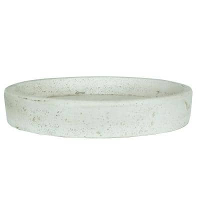 11 in. Dia White Stone Smooth Cement Cast Saucer in Aged