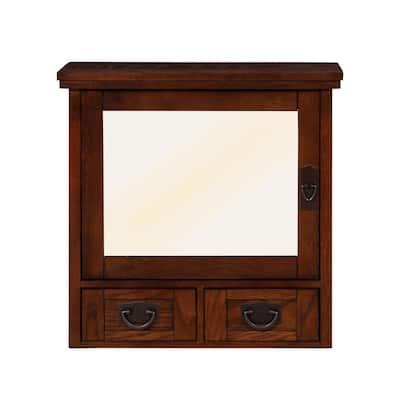 Artisan 23-1/2 in. W x 22-3/4 in. H x 8 in. D  Framed Rectangular Bathroom Vanity Mirror in Dark Oak
