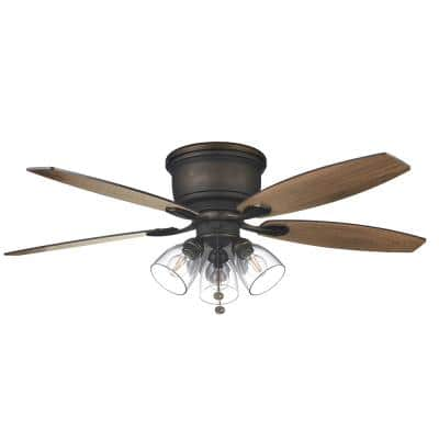 Stoneridge 52 in. Indoor LED Bronze Hugger Ceiling Fan with Light Kit and 5 QuickInstall Reversible Blades