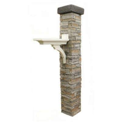 Gray Stacked Stone Brace and Flat Cap Mailbox Post