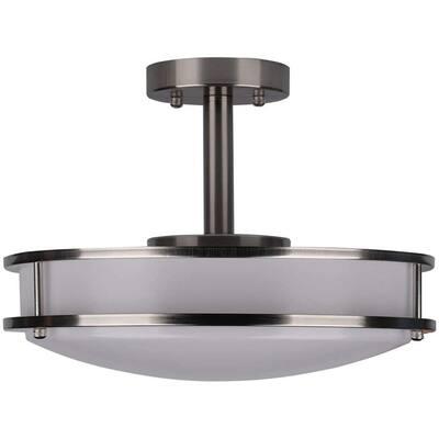 16 in. 24-Watt 1450 Lumens 1-Ceiling Light Double Ring Dimmable LED Semi-Flush Mount, CRI 80 CCT 4000K