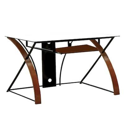 47 in. Rectangular Oak/Black Computer Desk with Keyboard Tray