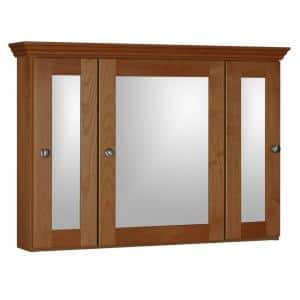 Shaker 36 in. W x 27 in. H x 6-1/2 in. D Framed Tri-View Surface-Mount Bathroom Medicine Cabinet in Medium Alder