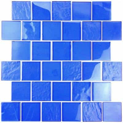 Landscape Mediterranean Blue Linear Mosaic 2 in. x 2 in. Textured Glossy Glass Pool Tile (12.48 sq. ft./Case)