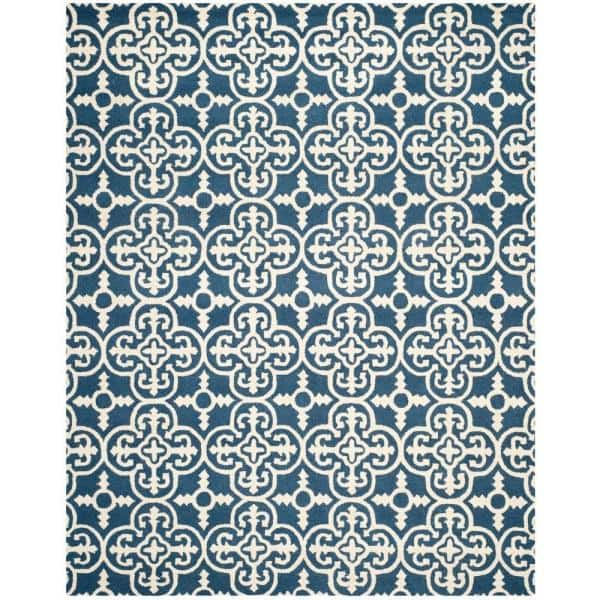 Safavieh Cambridge Navy Ivory 8 Ft X 10 Ft Area Rug Cam133g 8 The Home Depot
