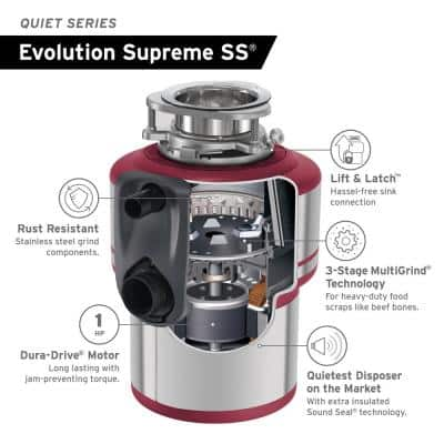 Evolution Supreme SS Lift & Latch Quiet Series 1 HP Continuous Feed Garbage Disposal with Power Cord Kit