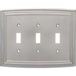 Nickel 3-Gang 3-Toggle Wall Plate (1-Pack)