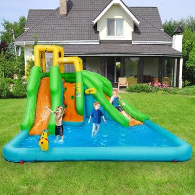 Kids Inflatable Water Park Bounce House 2 Slide with Climbing Wall