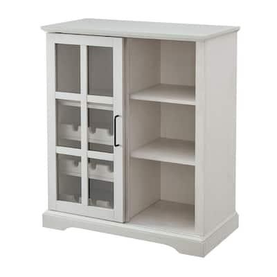 36 in. Brushed White Sliding Glass Door Bar Cabinet