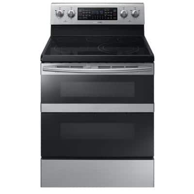 30 in. 5.9 cu. ft. Dual Door Electric Range with Self-Cleaning and Dual Convection Oven in Stainless Steel