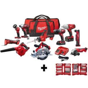 M18 18-Volt Lithium-Ion Cordless Combo Kit (10-Tool) with (2) Batteries, Charger and (2) Tool Bags and 100-Piece Bit Set