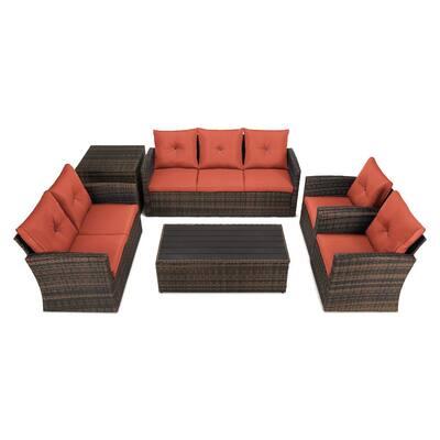 6-Piece Wicker Patio Conversation Set with Orange Cushions and Storage Boxs