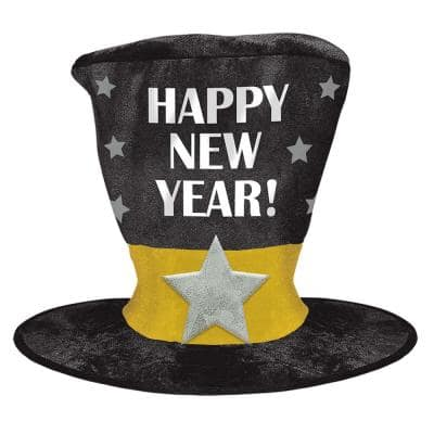 New Year's 12 in. Black Silver and Gold Oversized Top Hat (2-Pack)