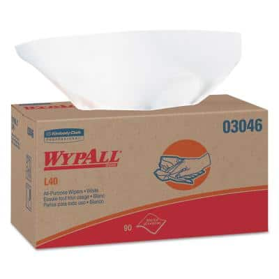 L40 Towels, POP-UP Box, White, 10-4/5 in. x 10 in., 90/Box, 9 Boxes/Carton