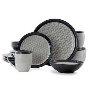 Fine Lines 16-Piece Contemporary Grey Stoneware Dinnerware Set (Service for 4)