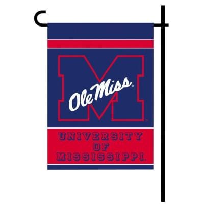 NCAA 13 in. x 18 in. Ole Miss 2-Sided Garden Flag Set with 4 ft. Metal Flag Stand