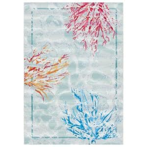 Barbados Teal/White 8 ft. x 10 ft. Border Nautical Indoor/Outdoor Area Rug