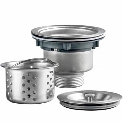 3.5 in. Multi-Layer Round Stainless Steel Kitchen Sink Drain and Strainer Combo Set